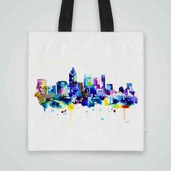 Дизайнерска чанта от плат Голям Град се шие индивидуално за вас - лека, сгъваема, разпознаваема дамска чанта или удобна чанта за пазар.