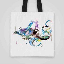 Дизайнерска чанта от плат Голям Октопод се шие индивидуално за вас - лека, сгъваема, разпознаваема дамска чанта или удобна чанта за пазар.