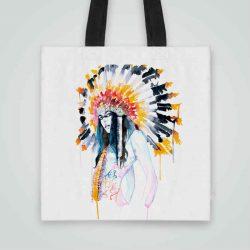 Дизайнерска чанта от плат Индианка се шие индивидуално за вас - лека, сгъваема, разпознаваема дамска чанта или удобна чанта за пазар.