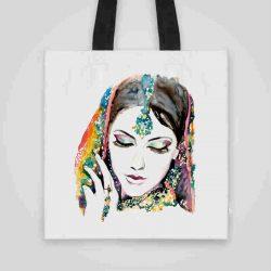 Дизайнерска чанта от плат Индийка се шие индивидуално за вас - лека, сгъваема, разпознаваема дамска чанта или удобна чанта за пазар.
