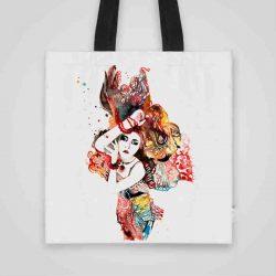 Дизайнерска чанта от плат Индийски Мотиви се шие индивидуално за вас - лека, сгъваема, разпознаваема дамска чанта или удобна чанта за пазар.