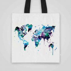 Дизайнерска чанта от плат Карта на Света 1 се шие индивидуално за вас - лека, сгъваема, разпознаваема дамска чанта или удобна чанта за пазар.