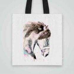 Дизайнерска чанта от плат Конска Глава се шие индивидуално за вас - лека, сгъваема, разпознаваема дамска чанта или удобна чанта за пазар.