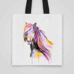 Дизайнерска чанта от плат Красив Кон се шие индивидуално за вас - лека, сгъваема, разпознаваема дамска чанта или удобна чанта за пазар.