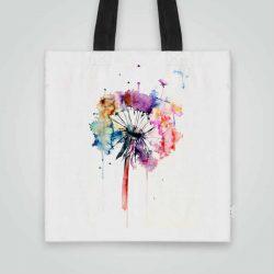 Дизайнерска чанта от плат Красиво Глухарче се шие индивидуално за вас - лека, сгъваема, разпознаваема дамска чанта или удобна чанта за пазар.