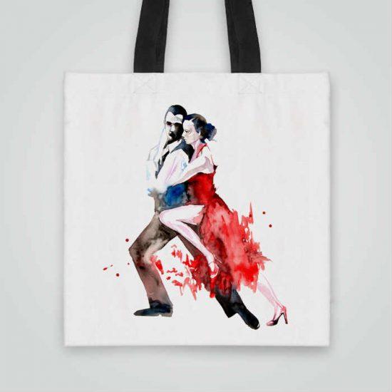 Дизайнерска чанта от плат Латино Танци се шие индивидуално за вас - лека, сгъваема, разпознаваема дамска чанта или удобна чанта за пазар.