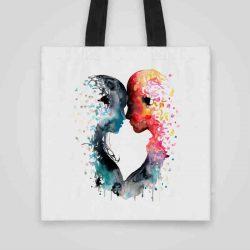 Дизайнерска чанта от плат Любов се шие индивидуално за вас - лека, сгъваема, разпознаваема дамска чанта или удобна чанта за пазар.
