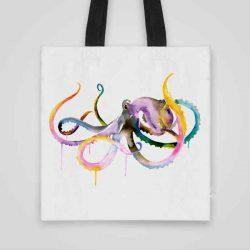 Дизайнерска чанта от плат Малък Октопод се шие индивидуално за вас - лека, сгъваема, разпознаваема дамска чанта или удобна чанта за пазар.