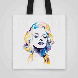 Дизайнерска чанта от плат Мерлин Монро се шие индивидуално за вас - лека, сгъваема, разпознаваема дамска чанта или удобна чанта за пазар.