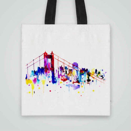 Дизайнерска чанта от плат Мостът се шие индивидуално за вас - лека, сгъваема, разпознаваема дамска чанта или удобна чанта за пазар.