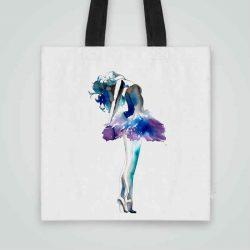 Дизайнерска чанта от плат Нежна Балерина се шие индивидуално за вас - лека, сгъваема, разпознаваема дамска чанта или удобна чанта за пазар.