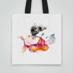 Дизайнерска чанта от плат Нежност се шие индивидуално за вас - лека, сгъваема, разпознаваема дамска чанта или удобна чанта за пазар.
