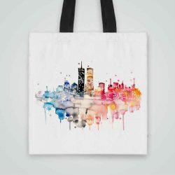 Дизайнерска чанта от плат Нощна Гледка се шие индивидуално за вас - лека, сгъваема, разпознаваема дамска чанта или удобна чанта за пазар.