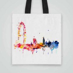Дизайнерска чанта от плат Окото на Лондон се шие индивидуално за вас - лека, сгъваема, разпознаваема дамска чанта или удобна чанта за пазар.
