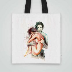 Дизайнерска чанта от плат Прегърни Ме се шие индивидуално за вас - лека, сгъваема, разпознаваема дамска чанта или удобна чанта за пазар.