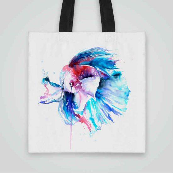 Дизайнерска чанта от плат Риба Бета се шие индивидуално за вас - лека, сгъваема, разпознаваема дамска чанта или удобна чанта за пазар.