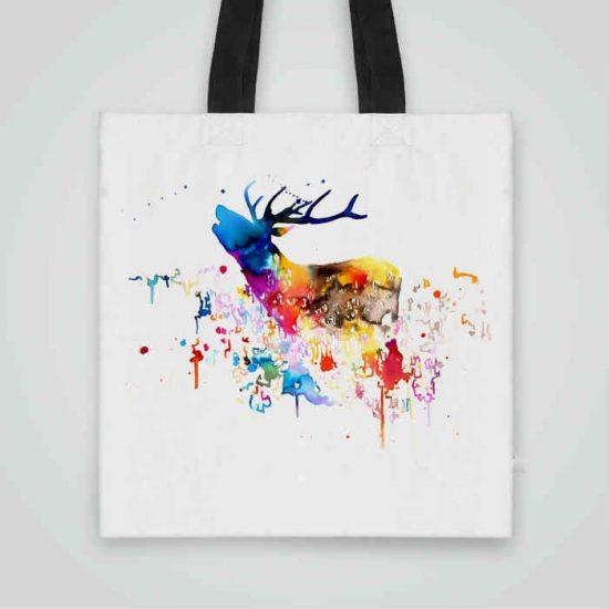 Дизайнерска чанта от плат Рисуван Елен се шие индивидуално за вас - лека, сгъваема, разпознаваема дамска чанта или удобна чанта за пазар.