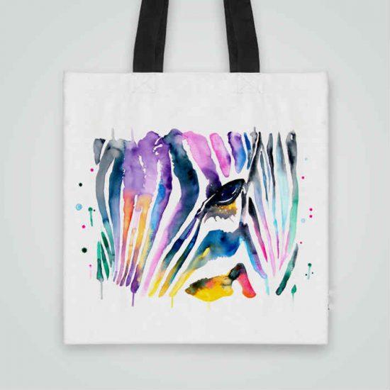 Дизайнерска чанта от плат Рисувана Зебра се шие индивидуално за вас - лека, сгъваема, разпознаваема дамска чанта или удобна чанта за пазар.