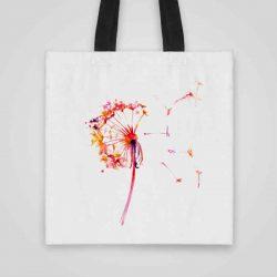Дизайнерска чанта от плат Рисувано Глухарче се шие индивидуално за вас - лека, сгъваема, разпознаваема дамска чанта или удобна чанта за пазар.
