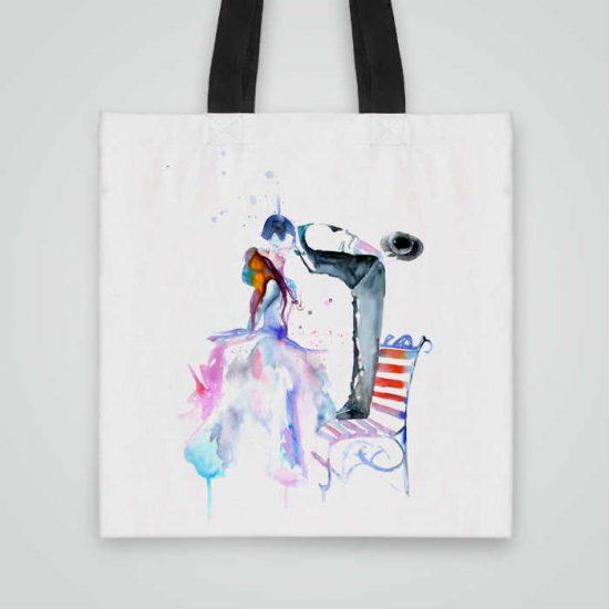 Дизайнерска чанта от плат Романтика се шие индивидуално за вас - лека, сгъваема, разпознаваема дамска чанта или удобна чанта за пазар.