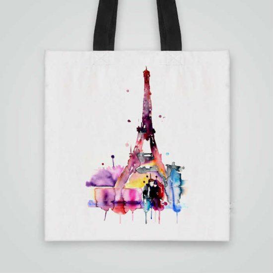 Дизайнерска чанта от плат Романтика в Париж се шие индивидуално за вас - лека, сгъваема, разпознаваема дамска чанта или удобна чанта за пазар.