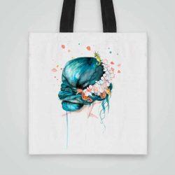 Дизайнерска чанта от плат Русалка се шие индивидуално за вас - лека, сгъваема, разпознаваема дамска чанта или удобна чанта за пазар.