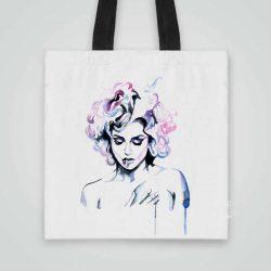 Дизайнерска чанта от плат с Арт щампа се шие индивидуално за вас - лека, сгъваема, разпознаваема дамска чанта или удобна чанта за пазар.