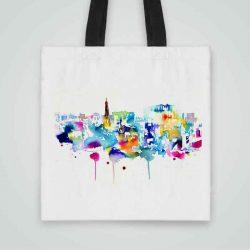 Дизайнерска чанта от плат Шарен Град се шие индивидуално за вас - лека, сгъваема, разпознаваема дамска чанта или удобна чанта за пазар.