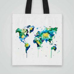 Дизайнерска чанта от плат Синя Карта на Света се шие индивидуално за вас - лека, сгъваема, разпознаваема дамска чанта или удобна чанта за пазар.