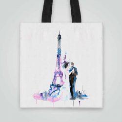 Дизайнерска чанта от плат Сватба в Париж се шие индивидуално за вас - лека, сгъваема, разпознаваема дамска чанта или удобна чанта за пазар.