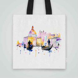 Дизайнерска чанта от плат Венеция се шие индивидуално за вас - лека, сгъваема, разпознаваема дамска чанта или удобна чанта за пазар.
