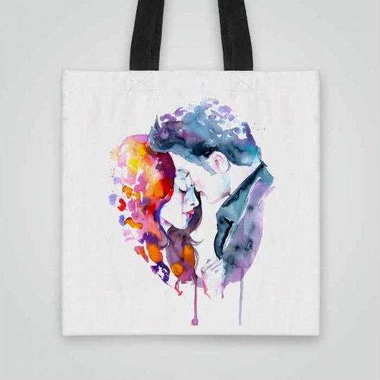 Дизайнерска чанта от плат Здрач се шие индивидуално за вас - лека, сгъваема, разпознаваема дамска чанта или удобна чанта за пазар.