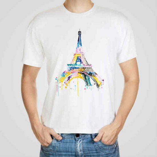 Мъжка тениска Айфеловата кула 2 e изработена от висококачествен памук с ярки цветове и прецизен детайл – сякаш някой е рисувал с четка и бои върху плата.