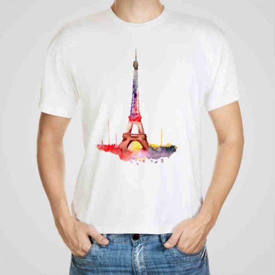 Мъжка тениска Айфеловата Кула e изработена от висококачествен памук с ярки цветове и прецизен детайл – сякаш някой е рисувал с четка и бои върху плата.
