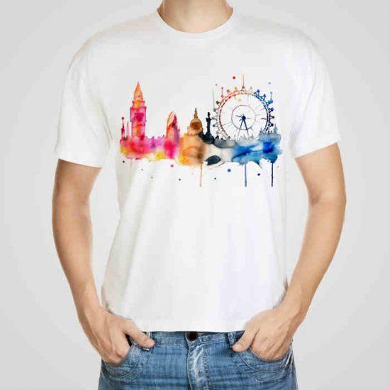 Мъжка тениска Биг Бен e изработена от висококачествен памук с ярки цветове и прецизен детайл – сякаш някой е рисувал с четка и бои върху плата.