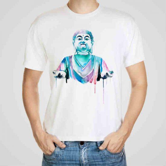 Мъжка тениска Буда e изработена от висококачествен памук с ярки цветове и прецизен детайл – сякаш някой е рисувал с четка и бои върху плата.