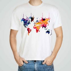 Мъжка тениска Карта на Света e изработена от висококачествен памук с ярки цветове и прецизен детайл – сякаш някой е рисувал с четка и бои върху плата.