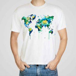 Мъжка тениска Континенти e изработена от висококачествен памук с ярки цветове и прецизен детайл – сякаш някой е рисувал с четка и бои върху плата.