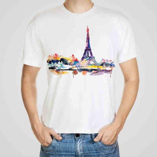 Мъжка тениска Париж e изработена от висококачествен памук с ярки цветове и прецизен детайл – сякаш някой е рисувал с четка и бои върху плата.